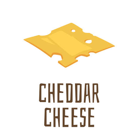 Piece of cheddar cheese, cartoon flat vector illustration isolated on white background. Slice of firm yellow cheese with holes, dairy product for sandwiches and burgers.