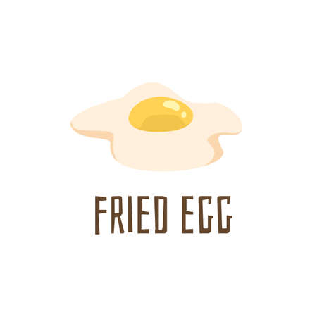 Fried egg. An ingredient for making a burger. Flat cartoon vector illustration isolated on a white background. A card or poster with text. Иллюстрация