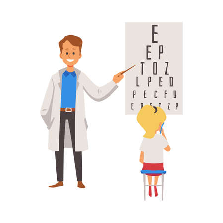 Pediatric ophthalmologist doctor conducting eyesight test for child. Ophthalmology and optometry for children, flat vector illustration isolated on white background.