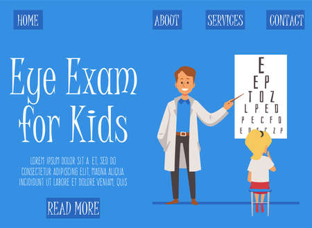The kid is consulted by an ophthalmologist. The doctor shows the girl letters for checking vision. The patient is examining in optometrist medical office. Vector flat illustration