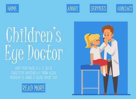 Consultation and treatment with kids eye doctor. An ophthalmologist holds an eye medication in his hand to treat a girl. Landing page template. Vector flat cartoon illustration Illustration