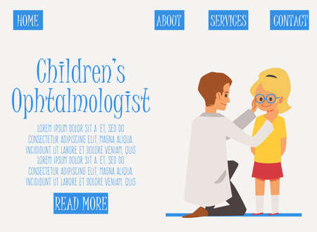 Childrens ophthalmologist web banner template with little girl undergoing eye check, flat vector illustration. Website layout for pediatric ophthalmology and optometry.