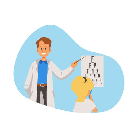 The girl is consulted by kid eye doctor who shows the child letters for checking vision. The examining in ophthalmologist medical office. Vector flat illustration Illustration