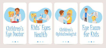 Onboarding screen design for kids eye doctor or ophthalmologist with cartoon characters of eye doctor and little patient, flat vector illustration. Eyesight examination.