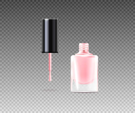 Pink nail varnish in a glass bottle opened template, realistic vector illustration isolated on transparent background. Decorative nail enamel or polish for manicure.