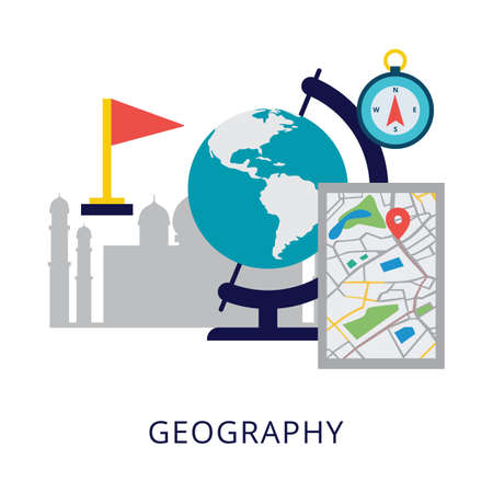 Geography school subject banner or logo template flat vector illustration isolated on white background. Studying objects with globe for geography classes.