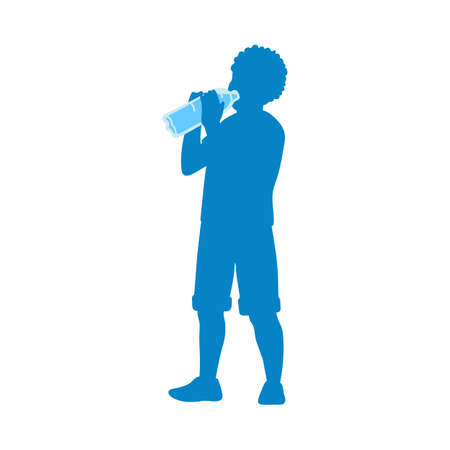 Blue silhouette of a boy drinking water from bottle, flat vector illustration isolated on white background. The contour of drinking child for water packing. Vektorgrafik