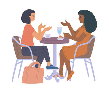 Two friends or colleagues women sitting at a table in street cafe or restaurant and have fun talking, flat vector illustration isolated on white background. Vektorgrafik