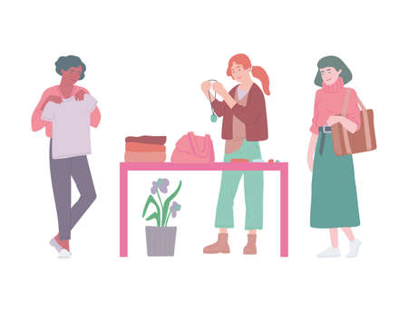 Fashion swap party or flea market. Women exchange clothes and accessories. Vector flat illustration Vettoriali