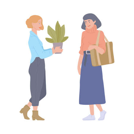 Women attending swap party for reusing things and reducing consumption. Charity eco-friendly exchange, flat cartoon vector illustration isolated white background Vettoriali