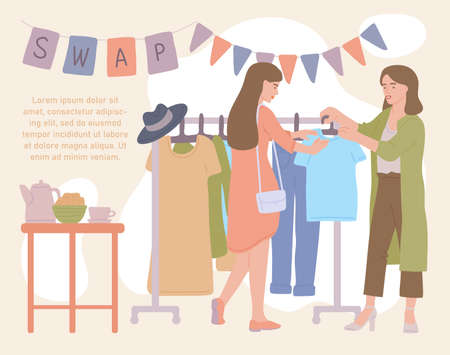 Women attending fashion clothing swap party to update wardrobe. Eco-friendly clothing exchange and reducing consumption, flat cartoon vector illustration