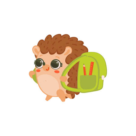 Cute little smiling hedgehog going to school studying with green backpack. Small pet with round eyes, flat cartoon vector illustration isolated white background