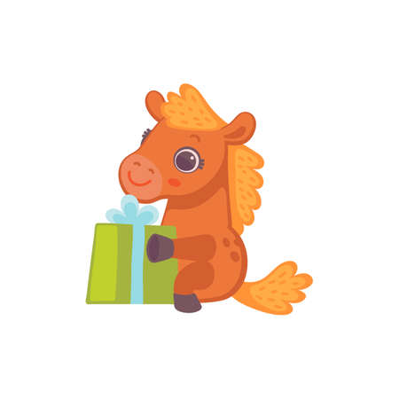 Cute little pony horse sitting with gift box, flat vector illustration isolated on white background. Creative character of little cute pony with birthday present.