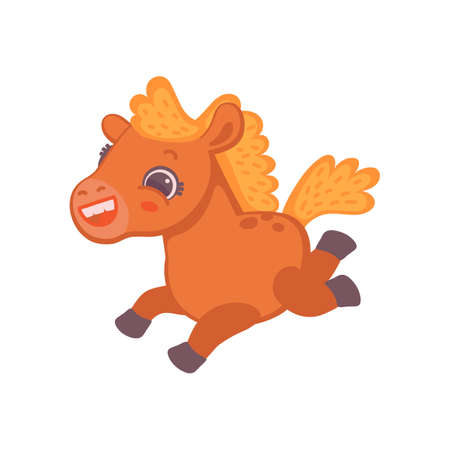 Childish brown pony horse cartoon character, flat vector illustration isolated on white background. Baby horse animal image for textile prints and cards.