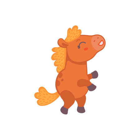 Cute cartoon brown pony horse. Sticker or toy for kids. Flat cartoon vector illustration isolated on a white background.