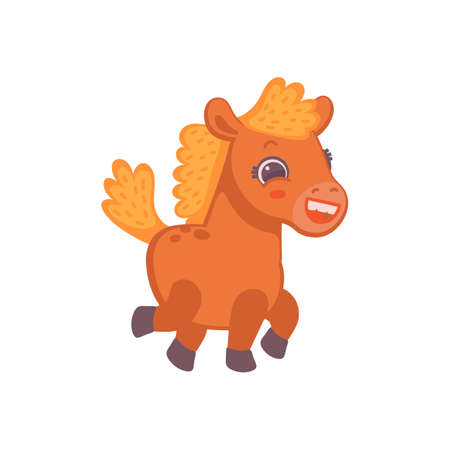 Cute little running pony horse cartoon character, flat vector illustration isolated on white background. Brown funny and cheerful baby pony for baby clothes.