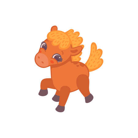 Cute little pony horse cartoon character, flat vector illustration isolated on white background. Funny tiny pony personage for cards and children clothing.