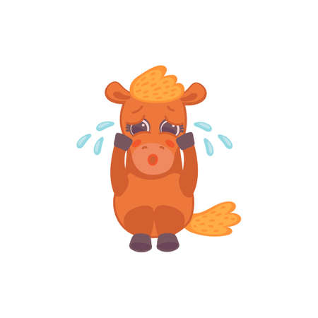 Cute cartoon brown weeping pony horse. Sad pony is crying. Flat vector illustration isolated on a white background. 矢量图像