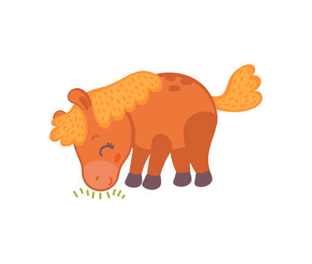 Cute baby horse eating grass - adorable cartoon brown pony isolated on white background. Little animal grazing, vector illustration for children.