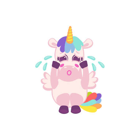 Funny cute unicorn cartoon character sitting and crying, flat vector illustration isolated on white background. Pink magic unicorn for prints and design.