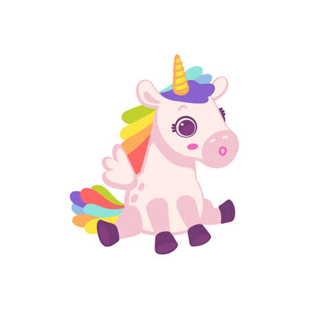 Cute cartoon pink pony horse or unicorn. Toy for kids. Flat cartoon vector illustration isolated on a white background.