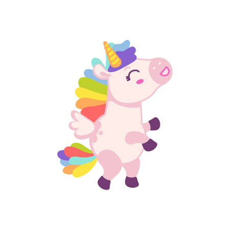 Cute pink baby unicorn cartoon character with rainbow mane and tail, flat vector illustration isolated on white background. Fairytale unicorn for girlish childish items. 矢量图像