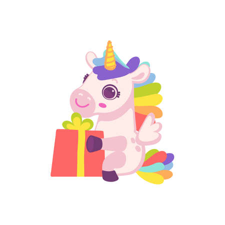 Cute cartoon pink pony horse or unicorn with gift. Toy for kids. Flat cartoon vector illustration isolated on a white background.