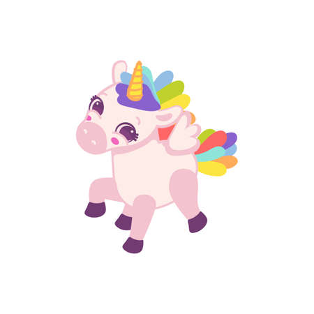 Cartoon character of funny magic baby unicorn with rainbow mane and tail, flat vector illustration isolated on white background. Baby unicorn for girls prints. 矢量图像