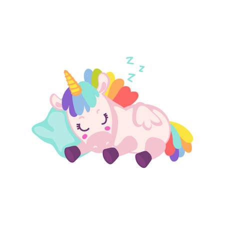 Cute baby rainbow unicorn sleeping - cartoon magic animal lying asleep on a pillow isolated on white background. Fantasy creature taking a nap, vector illustration.