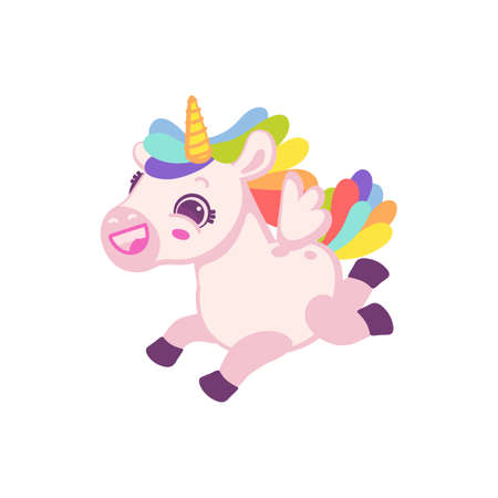 Fantasy cartoon character of baby unicorn, flat vector illustration isolated on white background. Creative character of magical tiny horse unicorn for girls.