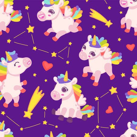 Seamless colorful kids pattern with cute unicorn horse with hearts and stars, flat cartoon vector illustration on violet background. Funny endless repeatable backdrop.