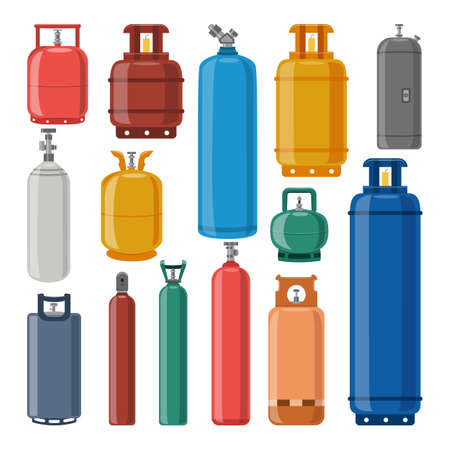 Set of gas cylinders of different colors and shapes. Safe transportation and storage of high-pressure liquefied gas. Cylindrical containers with valves. Vector isolated illustration