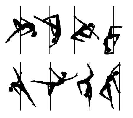 Sexy pole dancer female black silhouettes set, flat vector illustration isolated on white background. Black contour of young women dancing around pole. Standard-Bild