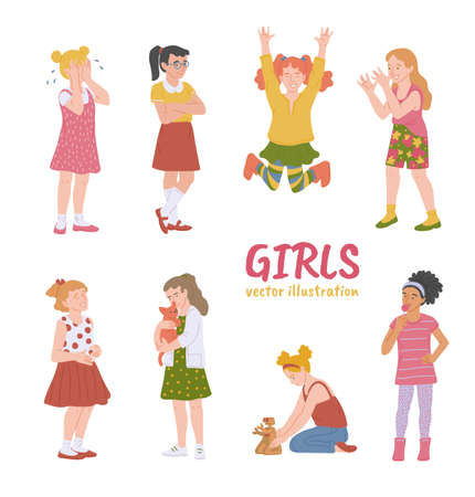 Set of diverse little girls cartoon characters demonstrating various emotions and expressions, flat vector illustration isolated on white background. Children behavior.