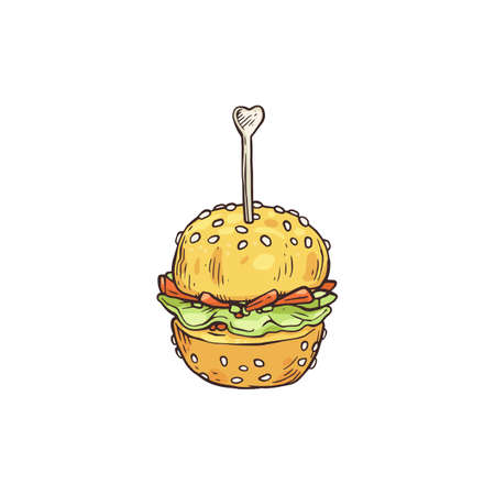 Tiny banquet snack or appetizer in shape of small burger on wooden skewer, sketch vector illustration isolated on white background. Party canape or refreshment dish.