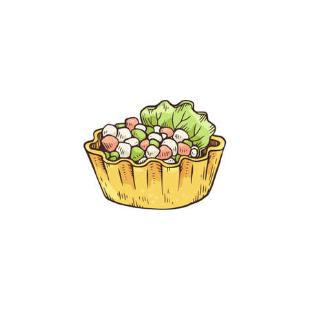 Small tartlet snack with topping of cheese and vegetables, sketch vector illustration isolated on white background. Party buffet appetizer or refreshment.