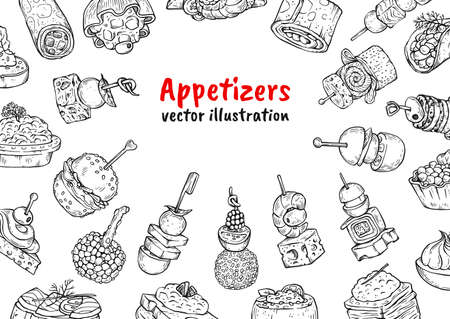 Appetizer finger food poster background - black and white drawing set of gourmet restaurant dishes and blank copy space. Hand drawn vector illustration template. 矢量图像