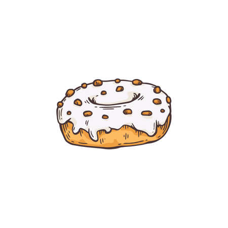Sweet sugar donut with glaze. Dessert for tea or coffee. Line vector illustration isolated on a white background.