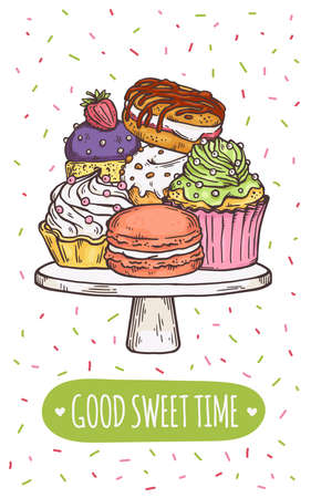 A beautiful hand drawn card with cakes and Good sweet times wishes. Pile of delicious cakes for tea or coffee time. Colorful vector line illustration.  イラスト・ベクター素材