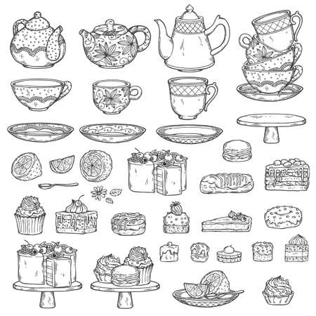 Set of vintage teapots, tea cups and cakes ink drawing outline sketch vector illustration isolated on white background. Line art collection for teatime and teahouse.