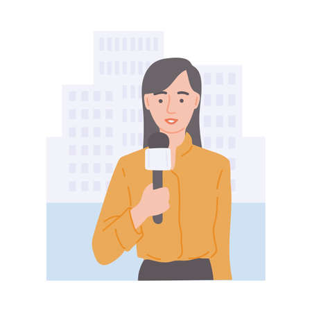 A female journalist reports the news live. A reporter with a microphone in his hand in front of the city building. Broadcasting of a news channel. Flat vector illustration