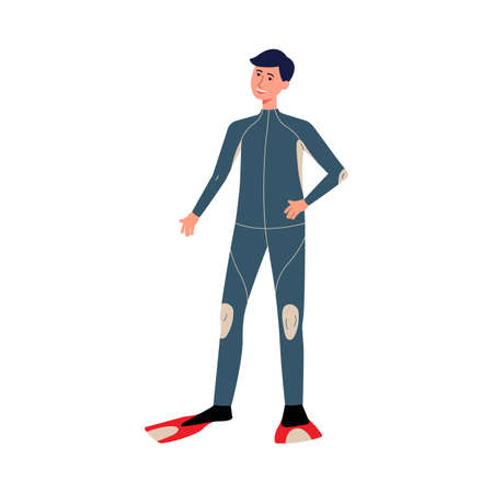 Young man scuba diving wearing special clothing and flippers for extreme sport hobby. Exploring ocean, flat cartoon vector illustration isolated white background