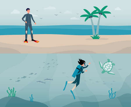 Sea shore background with scuba diving sportsmen diving deep and resting on coast bank. Underwater diving banner with cartoon characters flat vector illustration.