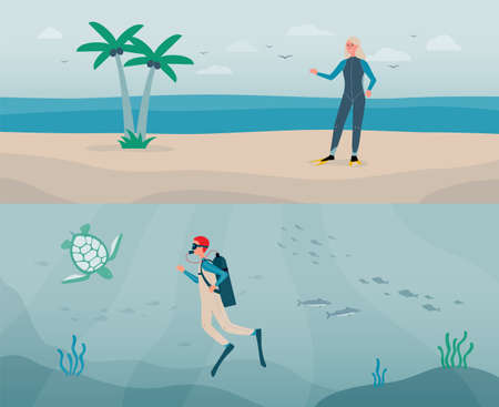 The dive deep in water. Diver man with aqualung, fish and turtle on underwater background. A blonde woman in a scuba suit stands on the sea or ocean beach. Vector flat illustrations.