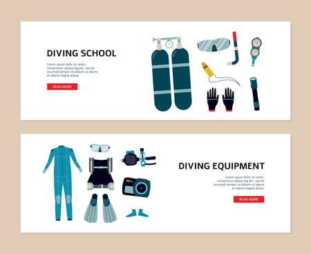 Set of flyers for scuba diving school and diving underwater equipment store, flat vector illustration. Water extreme and diving sport activity posters or banners.