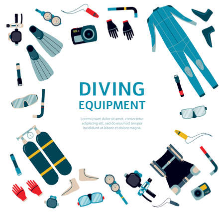 Diving equipment salling and rental banner template, flat vector illustration on white background. Advert for scuba swimming equipment and underwater diving outfit. Ilustrace