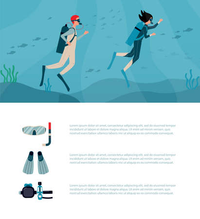 Web banner or poster design for scuba diving with cartoon characters of divers or plungers in diving outfit and copy space for text, flat vector illustration.