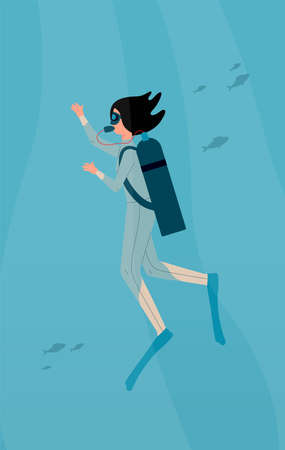 Diver woman cartoon character swimming underwater with scuba, flat vector illustration. Scuba diving activity for tourists and extreme hobby poster background.