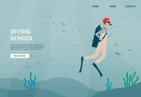Web page mockup for diving school with diver snorkeling underwater, flat vector illustration. Landing or site homepage for training of extreme diving and water plunge.