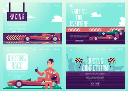 Set of banners or posters for car racing and karting track, flat cartoon vector illustration. Auto race competition and sport cars track advertising bundle. Ilustración de vector